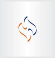 blue orange symbol letter h logotype sign element vector image vector image