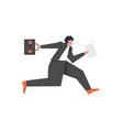 businessman running to work flat style vector image