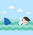 businessman swimming to escape shark flat design vector image