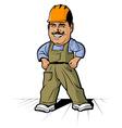 cartoon builder mans smile vector image vector image