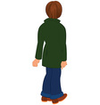 Cartoon man in green coat back view vector image vector image