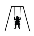 child silhouette cute on swing vector image vector image