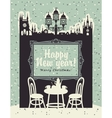 Christmas card with an interior of a cafe vector image vector image