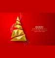 christmas new year gold 3d low poly tree red card vector image vector image