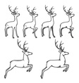 Christmas reindeer in different poses vector image vector image