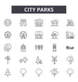 city parks line icons signs set outline vector image vector image