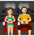 couple sitting in movie theater watching 3D movie vector image