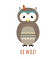 cute tribal owl isolated on white background vector image