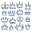 doodle crown kingdom tiaras crowns king queen vector image vector image