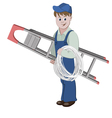 Electrician or cable guy with a ladder and a cable vector image