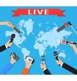 Few hands of journalists with microphones vector image vector image