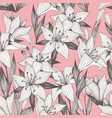 flowers hand drawing seamless pattern on a pink vector image vector image