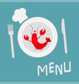 fork plate knife and chefs hat lobster with claw vector image vector image