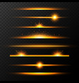 gold glowing lines with stars set shining line vector image vector image
