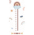 height chart with boho rainbow kids meter wall vector image vector image