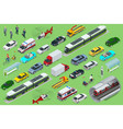 isometric city transport with front and rear views vector image vector image