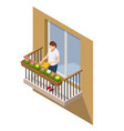 isometric woman watering flowers on her outdoor vector image