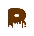 letter r chocolate font sweetness alphabet liquid vector image