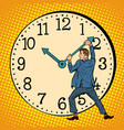 man wants to stop clock time management vector image