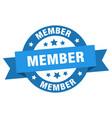 member ribbon member round blue sign member vector image vector image