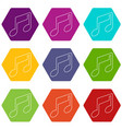 music note icons set 9 vector image vector image