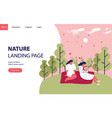 nature landing page concept with women in hill vector image vector image