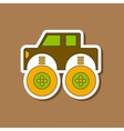 paper sticker on stylish background Kids toy car vector image vector image