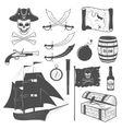 Pirates Monochrome Elements Set vector image vector image