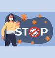 poster with young woman in medical mask near stop vector image