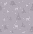 purple seamless christmas pattern with deer vector image