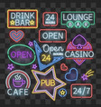 realistic neon bar illumination signs isolated on vector image