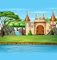 scene with big castle waterfall vector image vector image