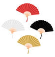 set four chinese folding hand fan isolated on vector image