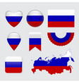 set of russia flag icon and label vector image vector image