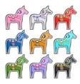 set swedish wooden horses vector image