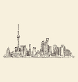 Shanghai China city architecture vintage vector image vector image