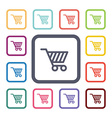 shopping cart flat icons set vector image vector image