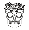 skull and flowers tattoo isolated icon design vector image vector image