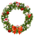 snowy christmas wreath vector image vector image