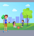 students and children playing in park vector image