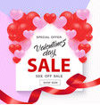 valentine day sale banner with sign on white shape vector image vector image