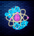 vintage scientific shops emblem glowing neon sign vector image vector image