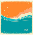 vintage seascape on old paper background for text vector image vector image
