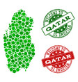 welcome collage of map of qatar and scratched vector image