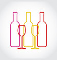 wineglass and bottles silhouette on gray art vector image vector image