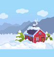 winter background christmas house vector image vector image