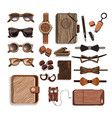 wooden fashionable hipster accessories set vector image vector image