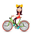 young pretty girl on bicycle with clock faces vector image vector image