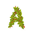 letter a english alphabet made of tree branches vector image