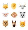 Animals heads flat icons set vector image